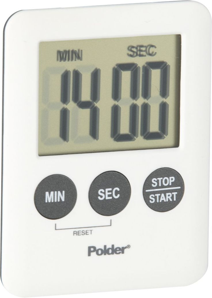 With a magnet on the back, this mini modern timer affixes to any metallic surface for efficient timing up to 100 minutes.  Large digital readout in minutes and seconds; one minute alarm. Plastic front and buttonsRubber and magnet backRequires one button cell LR1130 battery (included)Clean with a damp clothMade in China.