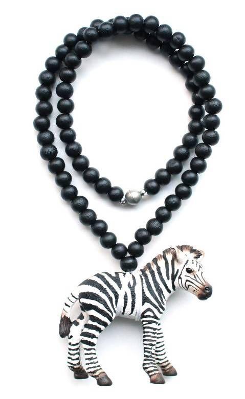 kinderketting zwarte ketting met zebra