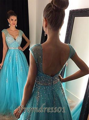 Sparkly v-neck backless blue chiffon prom dress for 2016, ball gown, prom dresses long #coniefox #2016prom