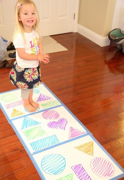 Color & Word Games for Toddlers - love this one, walk across the paper standing only on the same colour or shape.