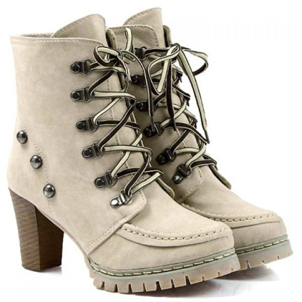 Trendy Lace-Up and Rivets Design Women's Chunky Heel Short Boots, APRICOT, 40 in Boots | DressLily.com