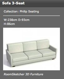 sample of the couch used in the living room  - measurements in the picture.