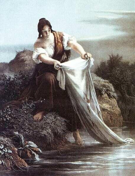 Székely Bertalan: Ágnes asszony - színes litográfia, 1865