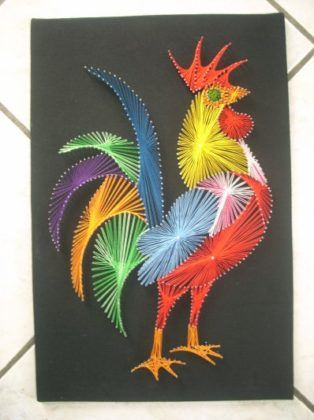 30 + Creative DIY String Art Project Ideas---Rooster String Art
