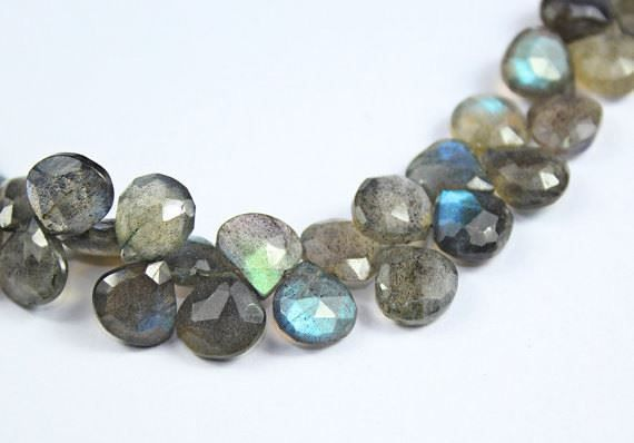 Natural Blue Flash Labradorite Faceted Heart Drop Beads Strand 8 inches 7mm 9mm