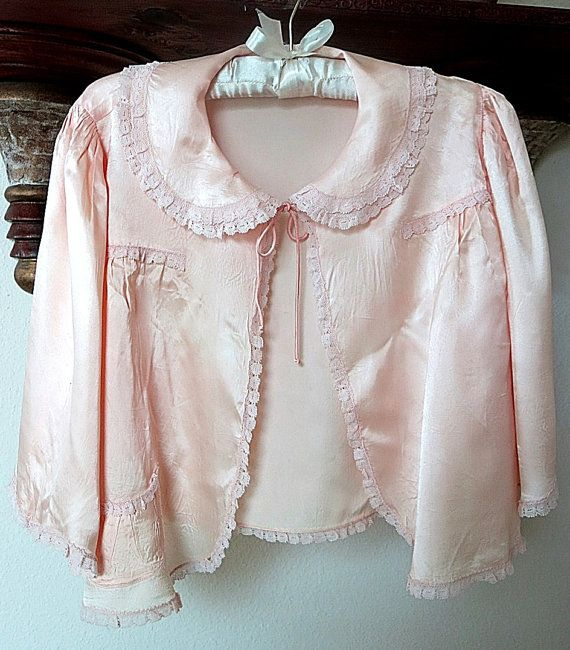 Peach Satin Bed Jacket 1930s 1940s Vintage Lace by CoconutRoad