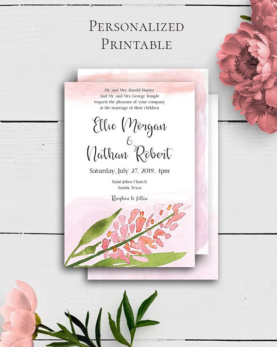 Blush Wedding Custom Invitation with fnacy and stylish watercolor design in shabby chic style by Amistyle Digital Art on Etsy