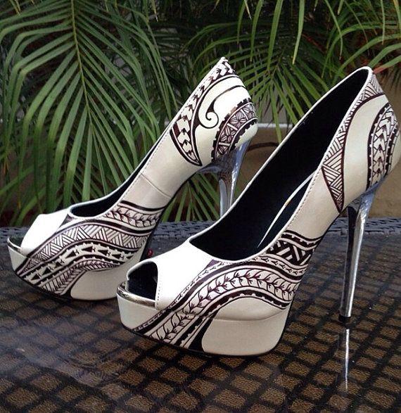 Stunning Polynesian Tribal Handpainted Stilettos Shoes by Marisa of LiveLoveSurfDesigns - island wear, island style, authentic native poly art Hawaiian art Hawaii Maui Oahu Kauai Tahiti Maori