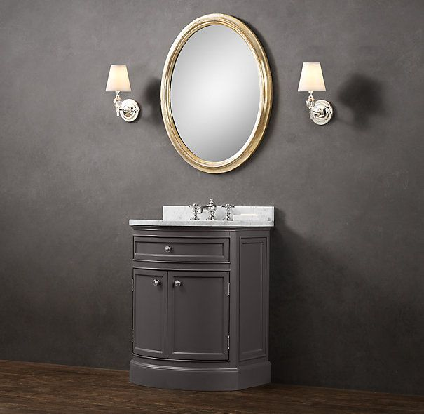RHu0027s Odéon Powder Room Vanity:With Its Distinctive Curved Front Paneling,  Our Handcrafted Vanity Is A Handsome And Practical Evolution Of The  Demi Lune ...
