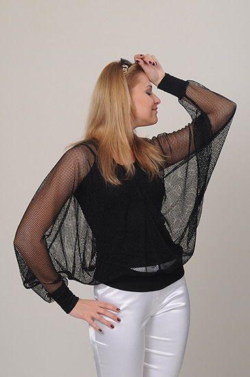 Черная блузка широкие прозрачные рукава / Black blouse with transparent wide sleeves