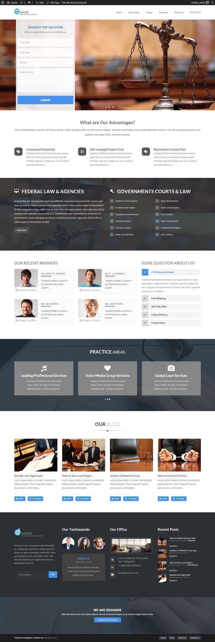 Dastak - Best #Court #Law #WordPress #Premium #Theme Take a look here - http://themeforest.net/item/dastak-a-multipurpose-responsive-theme/9633037