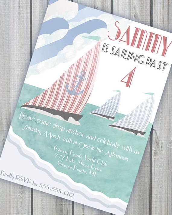 Sailing Party Nautical Invitation  Deco by GwynnWassonDesigns, $15.00