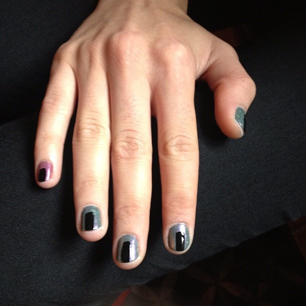 Cool color block nails by @butterlondon backstage at Veda! #NYFW