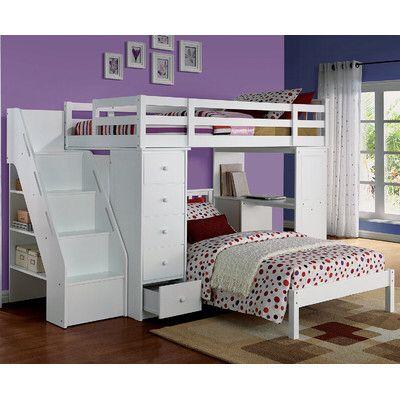 Freya Loft Bed with Bookshelf Ladder