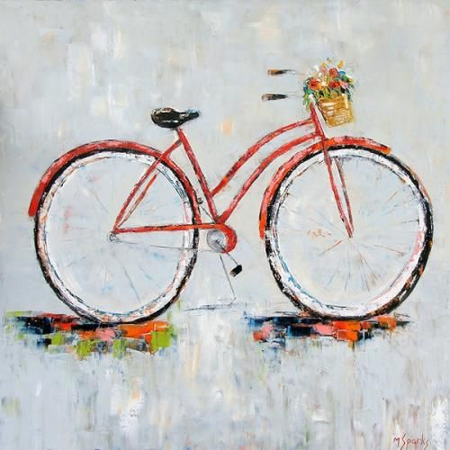 "Taylor Kinzel Gallery - ""Headed Home"" oil on canvas by Marilyn Sparks 40""x40"" $2350 Contemporary Bicycle Painting with Flower Basket"