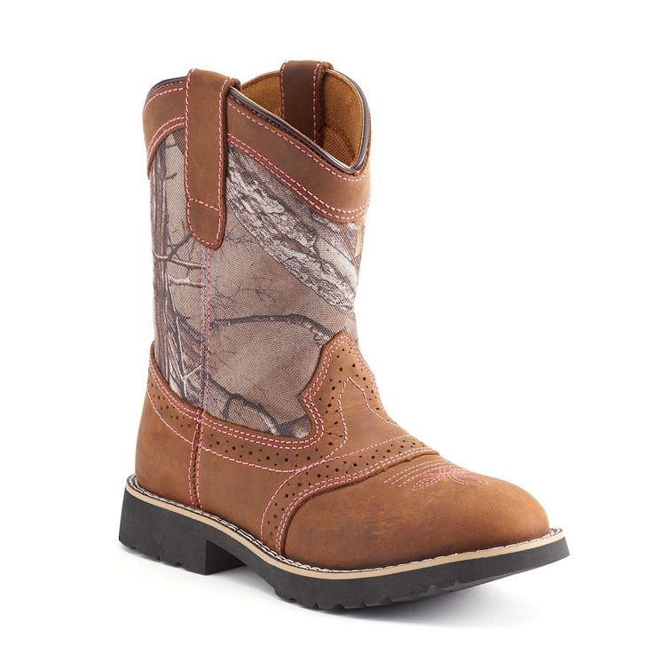 Itasca Real Tree Camo Girls' Leather Western Boots, Size: 11, Brown