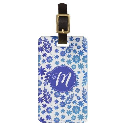 Blue China Hand Drawn Floral Pattern & Monogram Luggage Tag - monogram gifts unique custom diy personalize