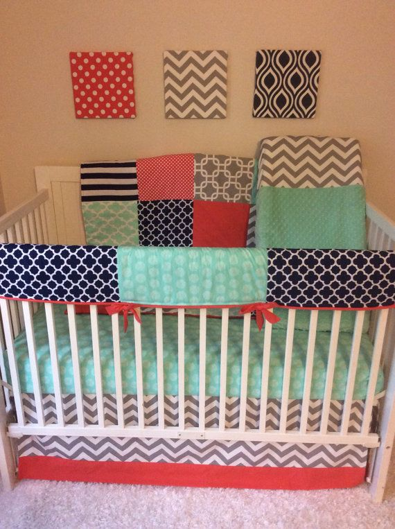 Crib Bedding Set in Coral Navy Mint and by butterbeansboutique