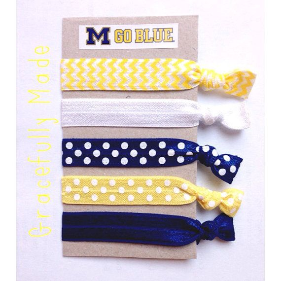 University of Michigan Elastic Hair Ties - Yellow and Blue on Etsy, $4.00