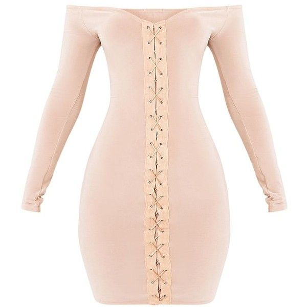 Margot Nude Lace Up Bardot Bodycon Dress ($19) ❤ liked on Polyvore featuring dresses, nude dress, lace up front dress, pink lace up dress, body con dresses and pink dress