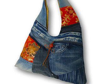 Recycled Old Jeans, Japanese Obi & Hand-dyed Indigo Fabric Hobo Bag