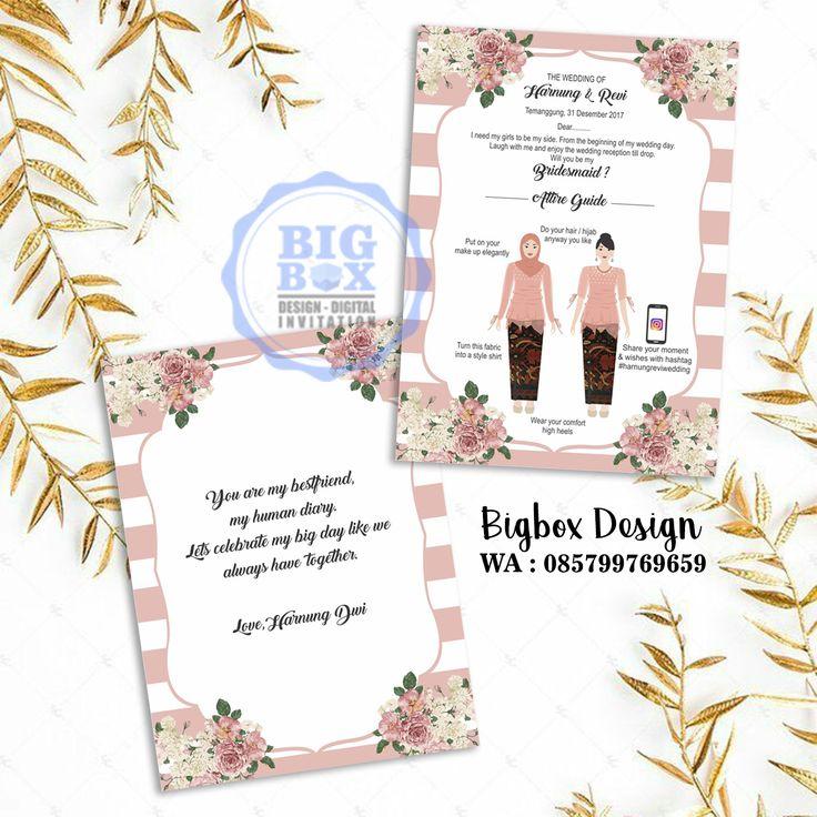 Bridesmaid card for Harnung & Revi wedding. (bolak balik) Thank you. . . . Whatsapp/Line 085799769659 . . . #bridesmaid #groomsman #bridesmaidcard#bridesmaidcardsemarang #groomsmancard #kartubridesmaid #kebayajumputan #batikjumputan #kartugroomsman #attireguide #attireguidecard #undanganunik #undangan #undangansosmed #digitalinvitation #bigboxdesign