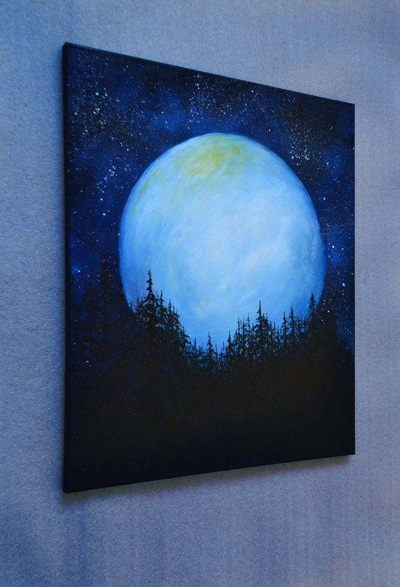 Original Oil Fantasy Space Landscape Painting Wall Decor Office Decor Moonlight Night Sky Full Moo Moonlight Painting Night Sky Painting Forest Painting