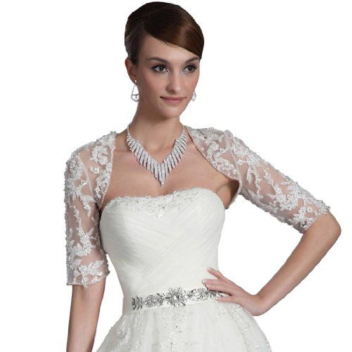 Topwedding Half Sleeved Lace Bridal Jacket, Ivory Topwedding,http://www.amazon.com/dp/B00AE11QVM/ref=cm_sw_r_pi_dp_z15osb1289ND6QGP