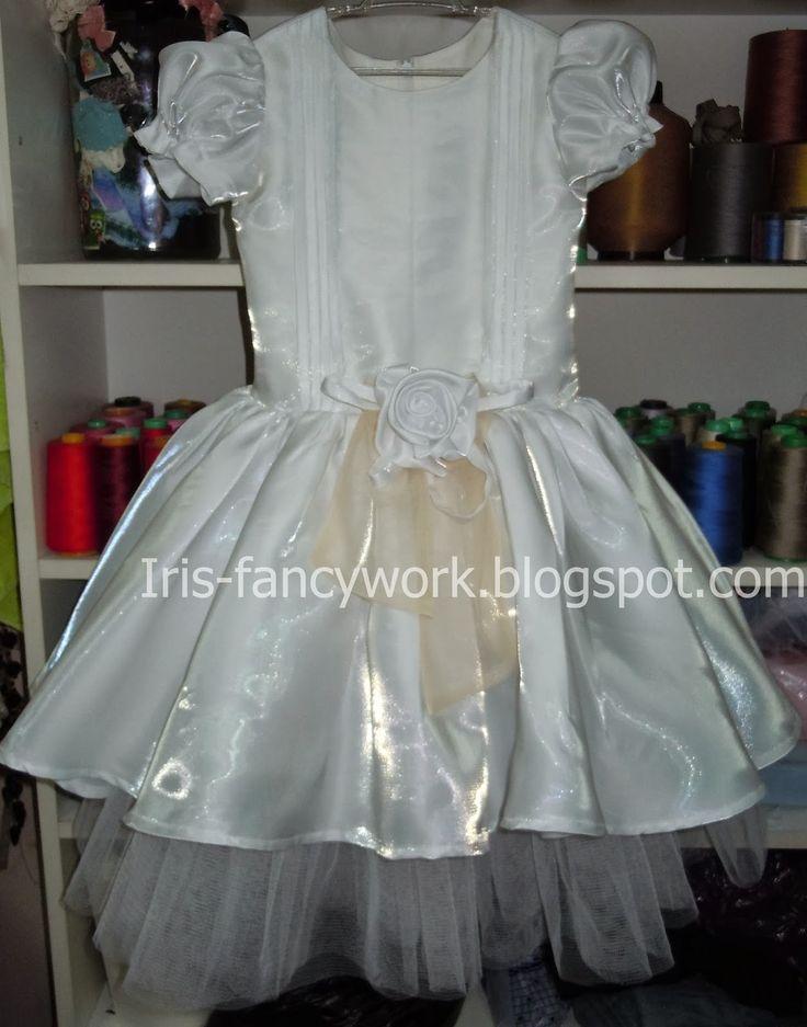 My Fancywork Blog: Детское нарядное белое платье с защипами и пышной ...