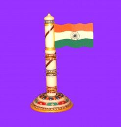 National Flag is an awesome idea for a gift to political leaders & corporate officers. This Indian National Flag is beautifully made by white marble stone & color, meenakari embossed art work has done by skilled craftsman. If you wish for national flag of any other country, you may contact us with your special order.
