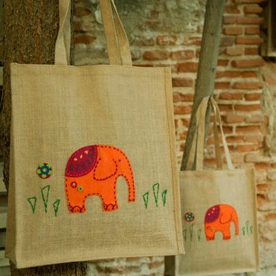 Bolso de tela de saco con interior impermeable bordado y - Tela de saco ...