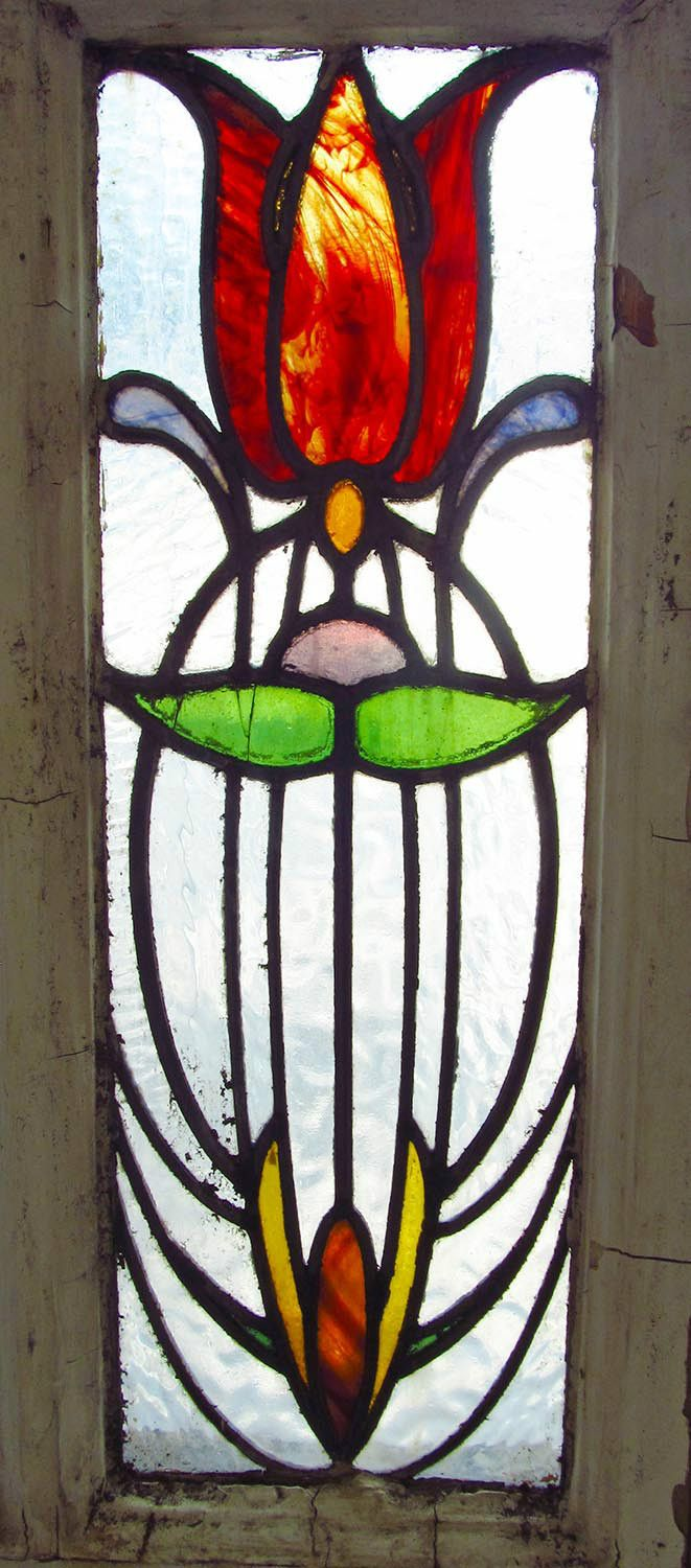 Antique Stained Glass Window Stunning Eight Color Art Nouveau Tulip