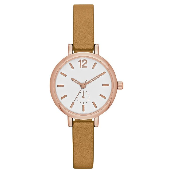 Women's Skinny Strap Watch with Full Arabic Dial - Rose Gold/Brown