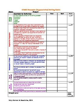 Staar persuasive essay rubric for middle school