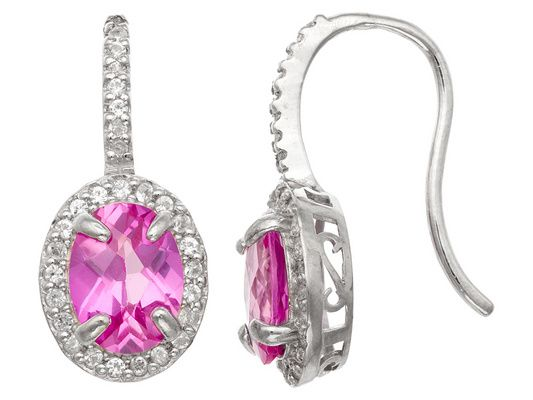 Synthetic Pink And White Sapphire Sterling Silver Fish Hook Earrings 2