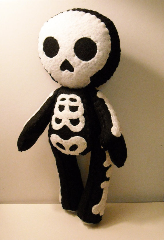 felt skeleton halloween inspired custom plush stuffed rag