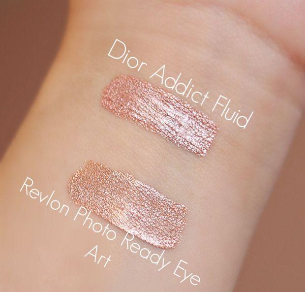 Dior Addict fluid eyeshadow 825 Aurora, Revlon 040 Peach Prism