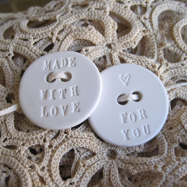 MADE WITH LOVE FOR YOU set of two handmade ceramic buttons is the perfect addition to your knitting or sewing project.