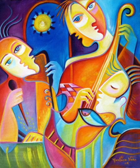 Cubism Abstract  Acrylic Original Painting on canvas The Musicians Los Musicos  Marlina Vera Modern Fine Art Gallery Sale