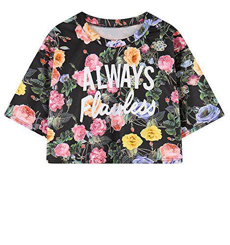 (シーファニー)Cfanny レディース 可愛い 原宿風 花柄 夏 涼しい プリント クロップド丈 Tシャツ ブラ…