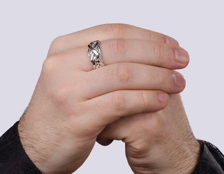 Серебряное мужское кольцо головоломка от Wickerring