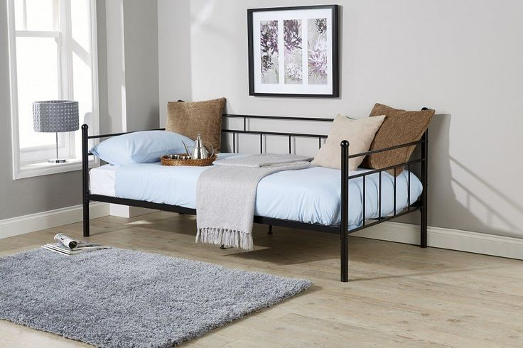 NEW Black Angelo Metal Frame 3ft Single Large Sofa Day Bed Guest Bed Cheap #Unbranded #Contemporary