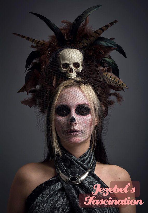 Juju Voodoo Skull Veill Headdress Black Brown Feather Hoodoo Carnivale Headpiece…