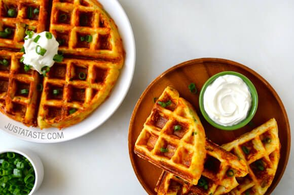 Cheesy Leftover Mashed Potato Waffles | http://www.justataste.com/2015/02/cheesy-leftover-mashed-potato-waffles-recipe/