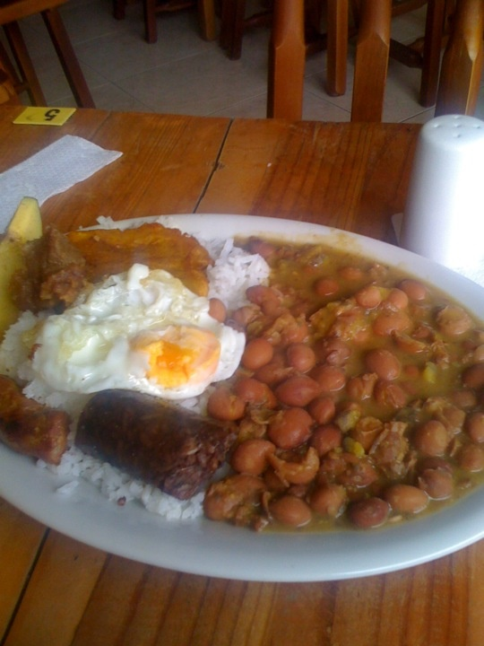 Bandeja paisa a famous Colombian dish from Medellin at a fair cheap place. 4 dollars.