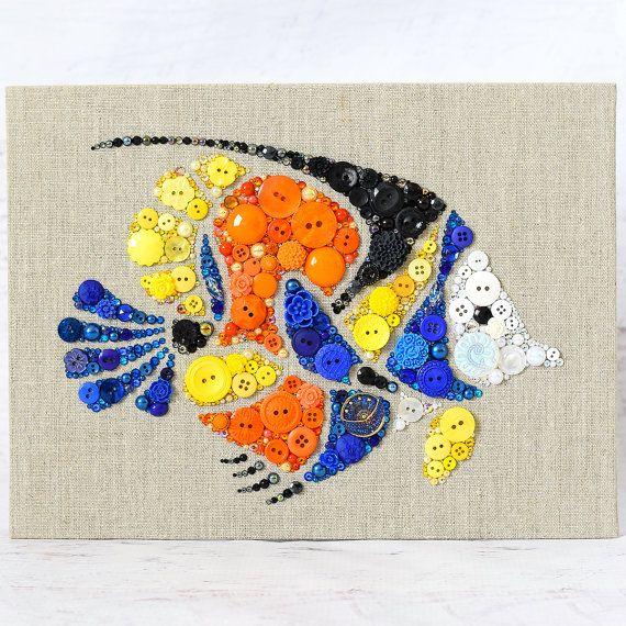 Tropische Fische Button Kunst 9 x 12 Wand von PaintedWithButtons