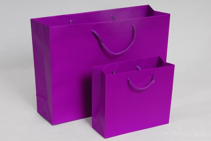 Purple Luxury Carrier Bags  Small: €48.00 per box (100pcs)  Large: €65.00 per box (100pcs)
