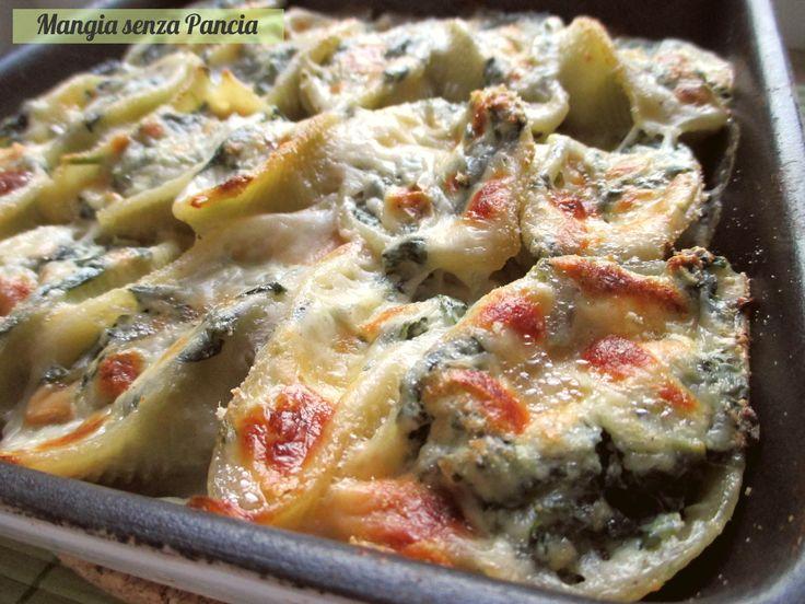Conchiglioni ripieni light, ricetta con spinaci e ricotta, Mangia senza Pancia