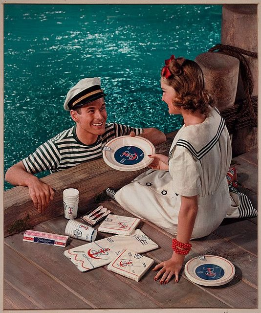 Nautical picnic: paper plate ad, 1941.  Maker: Nickolas Muray.  George Eastman House Collection.