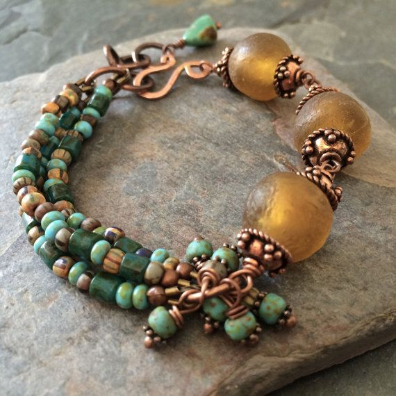 OOAK Copper Recycled Glass Czech Glass and by esdesigns65 on Etsy